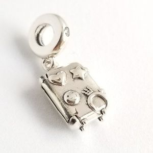 Pandora Suitcase Dangle Charm Travel Bag Silver CZ